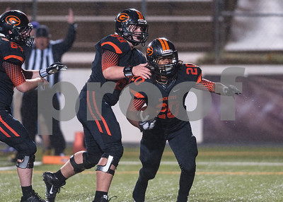 Gilmer's (20) Cambron Granville celebrates after scoring a touchdown in the first quarter of their game Friday night Nov. 27, 2015 at Trinity Mother Frances Rose Stadium in Tyler.  (Sarah A. Miller/Tyler Morning Telegraph)