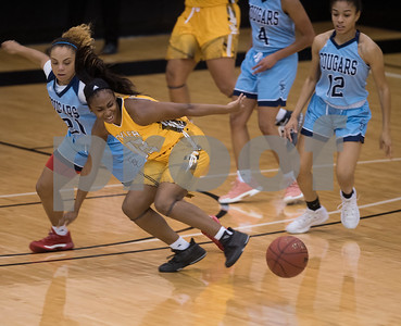 Tyler Junior College basketball player Treazure Mouton loses control of the ball during their game at home against Coastal Bend College Wednesday Nov. 29, 2017.  (Sarah A. Miller/Tyler Morning Telegraph)