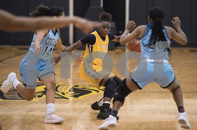 Tyler Junior College basketball player Trelynn Tyler drives the ball down the court during their game at home against Coastal Bend College Wednesday Nov. 29, 2017.  (Sarah A. Miller/Tyler Morning Telegraph)