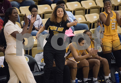 Tyler Junior College basketball players and staff applaud after several points are scored in the final seconds of the third quarter of their game at home against Coastal Bend College Wednesday Nov. 29, 2017.  (Sarah A. Miller/Tyler Morning Telegraph)