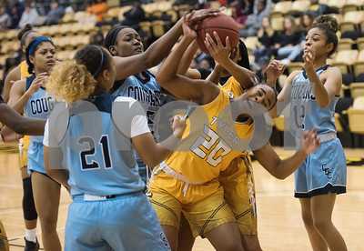 Tyler Junior College basketball player Jakieya Morgan (20) and Coastal Bend College players compete for control of the rebound Wednesday Nov. 29, 2017.  (Sarah A. Miller/Tyler Morning Telegraph)