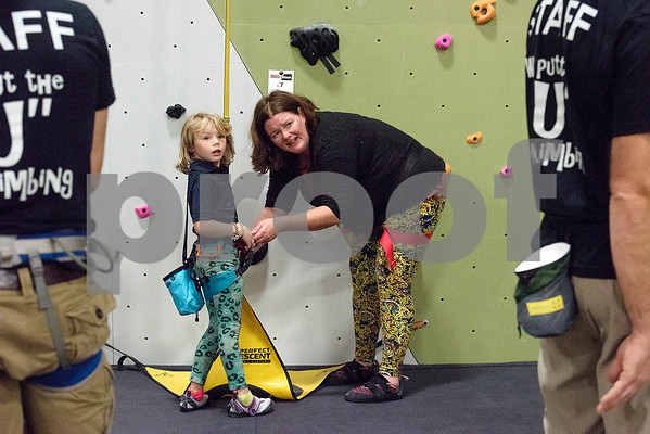 Lafayette Lee, 6, and Lara Eastern at the Tyler Rock Gym in Tyler, Texas, on Wednesday, Nov. 29, 2017. The new gym features up to 32-foot high walls, 12 auto belays, youth programs, bouldering and classes for beginners and seasoned climbers alike. (Chelsea Purgahn/Tyler Morning Telegraph)