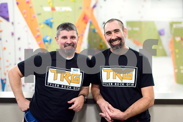 Co-owners Shawn Wilson and David Orchard at the Tyler Rock Gym in Tyler, Texas, on Wednesday, Nov. 29, 2017. The new gym features up to 32-foot high walls, 12 auto belays, youth programs, bouldering and classes for beginners and seasoned climbers alike. (Chelsea Purgahn/Tyler Morning Telegraph)