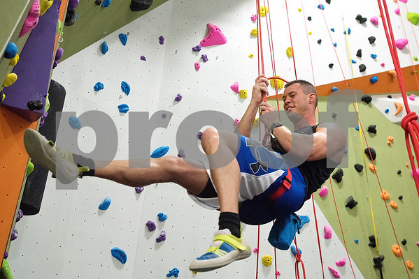 Shaun Jackson at the Tyler Rock Gym in Tyler, Texas, on Wednesday, Nov. 29, 2017. The new gym features up to 32-foot high walls, 12 auto belays, youth programs, bouldering and classes for beginners and seasoned climbers alike. (Chelsea Purgahn/Tyler Morning Telegraph)