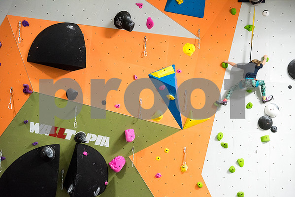 Lafayette Lee, 6, climbs at the Tyler Rock Gym in Tyler, Texas, on Wednesday, Nov. 29, 2017. The new gym features up to 32-foot high walls, 12 auto belays, youth programs, bouldering and classes for beginners and seasoned climbers alike. (Chelsea Purgahn/Tyler Morning Telegraph)