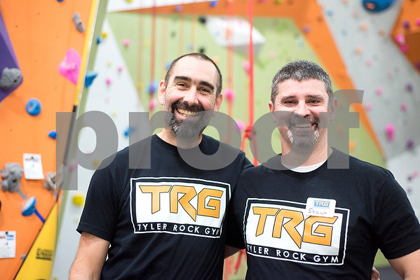 Co-owners David Orchard and Shawn Wilson at the Tyler Rock Gym in Tyler, Texas, on Wednesday, Nov. 29, 2017. The new gym features up to 32-foot high walls, 12 auto belays, youth programs, bouldering and classes for beginners and seasoned climbers alike. (Chelsea Purgahn/Tyler Morning Telegraph)