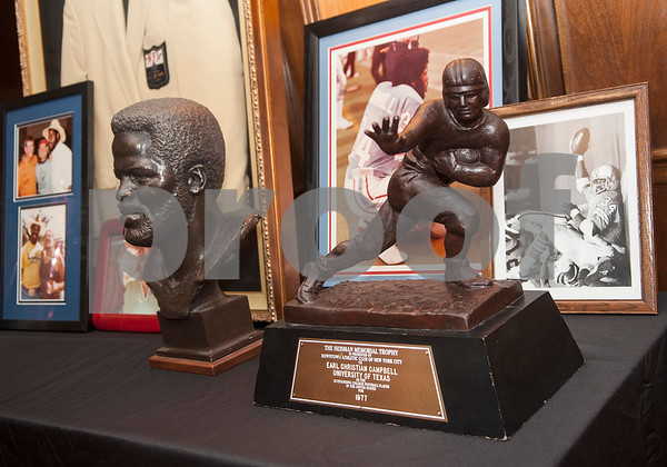 Earl Campbell's 1977 Heisman Trophy is on display during the award banquet Wednesday.   (Sarah A. Miller/Tyler Morning Telegraph)