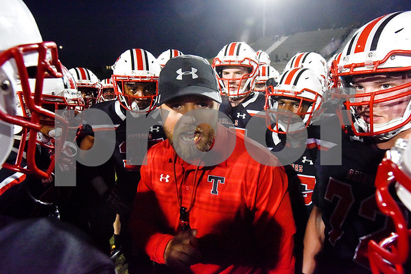 Robert E. Lee assistant coach Brody Lipsey talks to the team during a high school football game at Christus Trinity Mother Frances Rose Stadium in Tyler, Texas, on Friday, Nov. 3, 2017. (Chelsea Purgahn/Tyler Morning Telegraph)