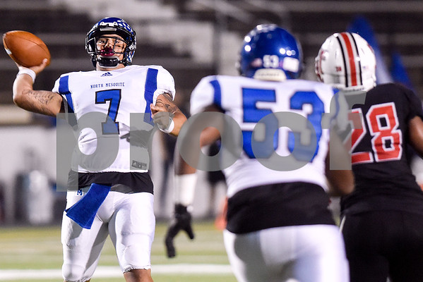 North Mesquite quarterback Alex Vigil (7) throws the ball during a high school football game at Christus Trinity Mother Frances Rose Stadium in Tyler, Texas, on Friday, Nov. 3, 2017. (Chelsea Purgahn/Tyler Morning Telegraph)