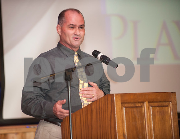 Mineral High School football coach Joe Drennon accepts the Allen Wilson Coach of the Year award at the American State Bank Player of the Year awards banquet Thursday Jan. 14, 2016 at KE Bushman's Celebration Center in Bullard.   (Sarah A. Miller/Tyler Morning Telegraph)