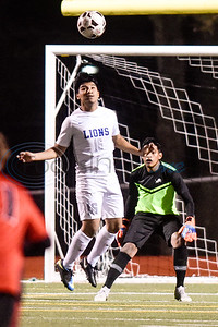 John Tyler's Jarro Barrera (16) jumps and bumps the ball off his head during a high school soccer game at Robert E. Lee High School in Tyler, Texas, on Tuesday, Jan. 15, 2019. (Chelsea Purgahn/Tyler Morning Telegraph)