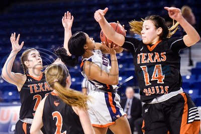 UT Dallas' Kelley Skinner (22), Shannon Mathis (2) and Victoria Pena (14) guard UT Tyler's Mykaela Alfred (13) as she jumps to shoot the ball during a college basketball game at the University of Texas at Tyler in Tyler, Texas, on Thursday, Jan. 17, 2019. (Chelsea Purgahn/Tyler Morning Telegraph)