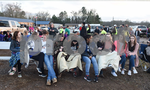Students wait for the goal post raising ceremony to begin at East Texas Christian Academy Thursday Jan. 19, 2017. The school is adding 6-man football to its high school and middle school athletic programs for the 2017-2018 school year.   (Sarah A. Miller/Tyler Morning Telegraph)