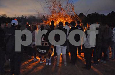 Students attend a bonfire after the goal post raising ceremony at East Texas Christian Academy Thursday Jan. 19, 2017. The school is adding 6-man football to its high school and middle school athletic programs for the 2017-2018 school year.   (Sarah A. Miller/Tyler Morning Telegraph)