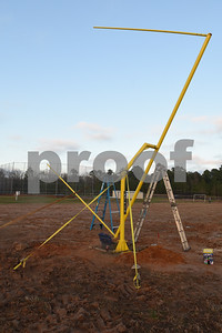 The goal post is pictured before the raising ceremony at East Texas Christian Academy Thursday Jan. 19, 2017. The school is adding 6-man football to its high school and middle school athletic programs for the 2017-2018 school year.   (Sarah A. Miller/Tyler Morning Telegraph)