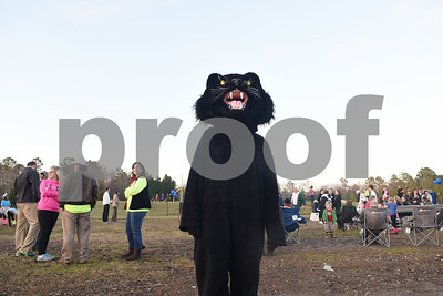 The panther mascot attends the goal post raising ceremony at East Texas Christian Academy Thursday Jan. 19, 2017. The school is adding 6-man football to its high school and middle school athletic programs for the 2017-2018 school year.   (Sarah A. Miller/Tyler Morning Telegraph)