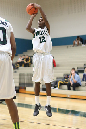 Connally's  Christopher Martin takes a shot against Lanier at Connally High School on Monday.