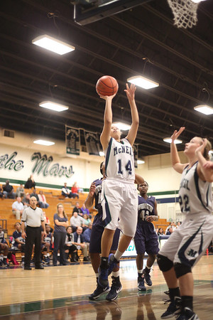 McNeil's Destinee Haywood takes a shot against Hendrickson Monday at  McNeil High School.