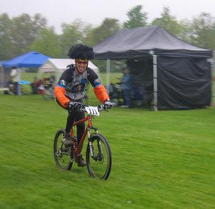 Jon finishing his first lap