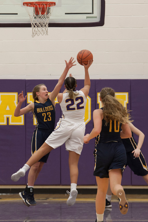 . Bulldog Lauren Galaska attempts to block Eagle Juliann Walker\'s shot. Jen Forbus -- The Morning Journal