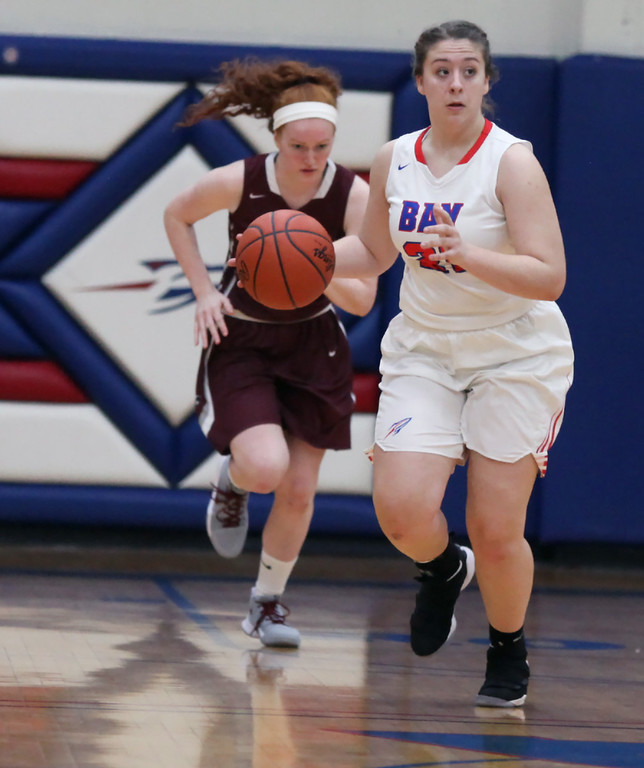 . Bay\'s Haley Andrejcak brings the ball up court in front of Rocky River\'s Rachel Moeller during the second quarter. Randy Meyers -- The Morning Journal