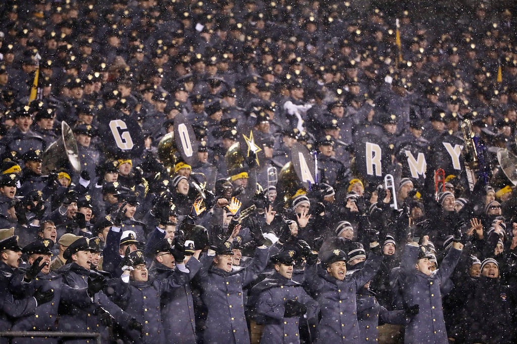 . Army Cadets cheer during the second half of an NCAA college football game between the Army and the Navy, Saturday, Dec. 9, 2017, in Philadelphia. Army won 14-13. (AP Photo/Matt Rourke)