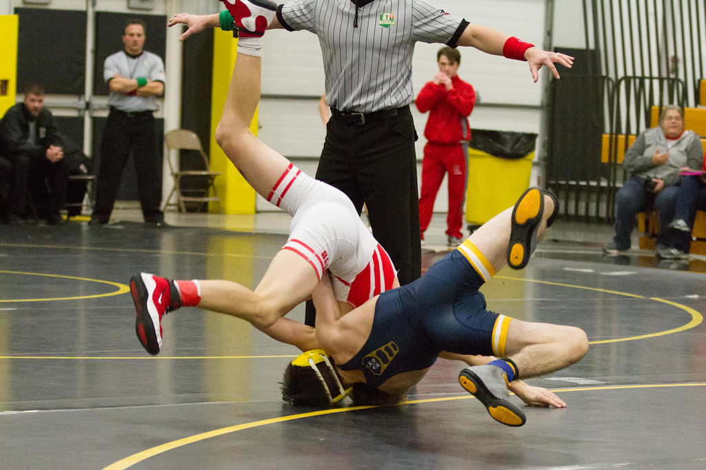 . Barry Booher - The News-Herald Cole Kowatch of Brecksville defeats Johnny Novak of St. Ignatius on Dec. 9 at the Riverside Rumble.