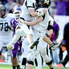 Monarch's Colin Hart (left) and Ethan Marks (right) celebrate Marks' first down allowing them to keep the ball and win against Denver South during their 4A State Football Championship football game in Denver, Colorado December 1, 2012. BOULDER DAILY CAMERA/ Mark Leffingwell