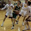 Surrounded by Shoremen, Westlake guard Tommy Lazevinick purposefully charges toward the net. Jen Forbus -- The Morning Journal