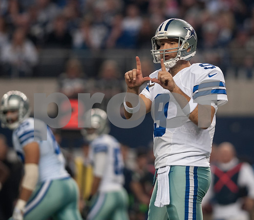 photo by Sarah A. Miller/ Tyler Morning Telegraph  Dallas Cowboy's quarterback Tony Romo calls a play in the first half of their game Sunday against the Indianapolis Colts at home at AT&T Stadium in Arlington, Texas.