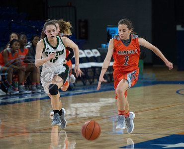Canton's Olivia Norrell (12) chases Mineola's Meghan Brewington (2) during their basketball game in the Macy Chenevert Patriot Holiday Classic on Friday Dec. 28, 2018.  (Sarah A. Miller/Tyler Morning Telegraph)