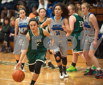 Bishop T. K. Gorman's (2) Caroline Cruz breaks away with the ball during their game against Dallas Thunder Tuesday in the Macy Chenevert Patriot Classic held at Bishop Thomas K. Gorman Catholic School.  (Sarah A. Miller/Tyler Morning Telegraph)