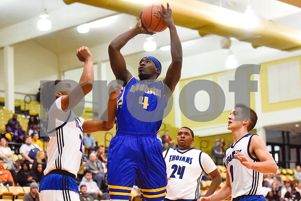 Brownsboro senior Kenneth Woods (4) shoots the ball during the Wagstaff Holiday Classic at Tyler Junior College in Tyler, Texas, on Friday, Dec. 29, 2017. (Chelsea Purgahn/Tyler Morning Telegraph)