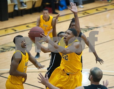 photo by Sarah A. Miller/Tyler Morning Telegraph  Tyler Junior College basketball player Darryl Stewart shoots a basket Tuesday Dec. 30, 2014 at Wagstaff Gymnasium during their game against Houston Community College Northwest.