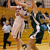 Fairview's Hannah Hyde (left) takes a shot while be guarded by Mountain Vista's Jennifer Wahleithner (right) during their basketball game at Fairview High School in Boulder, Colorado December 6, 2011. CAMERA/Mark Leffingwell
