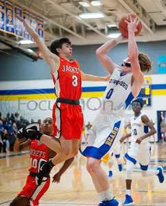 Elysian Fields' (3) Tyrese Hardeman tries to block Brownsboro's (0) Chance King during their game in the Great East Texas Shootout in Brownsboro on Thursday Dec. 6, 2018.   (Sarah A. Miller/Tyler Morning Telegraph)