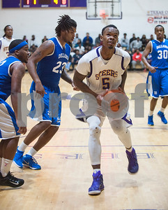 Texas College's Cameron Johnson dribbles up to the net during their basketball game against Dillard University Wednesday night Jan. 27, 2016 at Gus F. Taylor Gymnasium.  (Sarah A. Miller/Tyler Morning Telegraph)