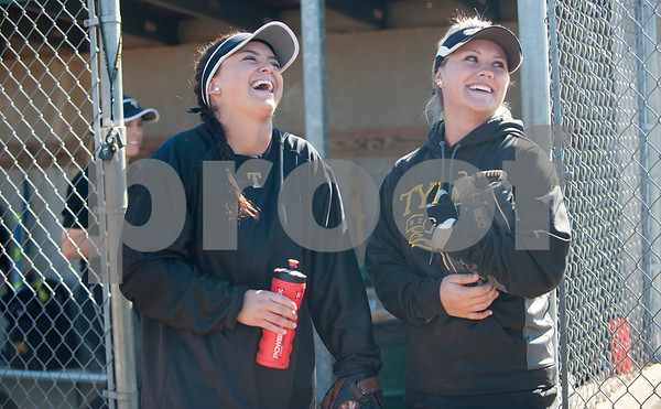Tyler Junior College softball players Brooklyn Vernier and Karli Herron laugh after practice during their media day Wednesday Jan. 27, 2016 at Faulkner Park in Tyler.  (Sarah A. Miller/Tyler Morning Telegraph)