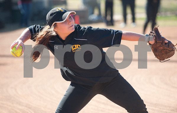 Tyler Junior College softball player Khandi Breaux throws the ball during their media day Wednesday Jan. 27, 2016 at Faulkner Park in Tyler.  (Sarah A. Miller/Tyler Morning Telegraph)