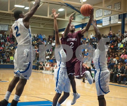 Whitehorse's (2) Javier Neal jumps to make a basket during their game against the Lions at John Tyler High School Friday night Jan. 29, 2016.  (Sarah A. Miller/Tyler Morning Telegraph)