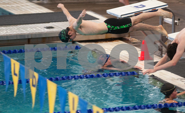 Bishop Thomas K. Gorman's Hans Sihan dives in at the start of the men's 100 yard freestyle at the TAPPS North Region Championships Friday Jan. 29, 2016 held at Mansfield ISD Natatorium.  (Sarah A. Miller/Tyler Morning Telegraph)
