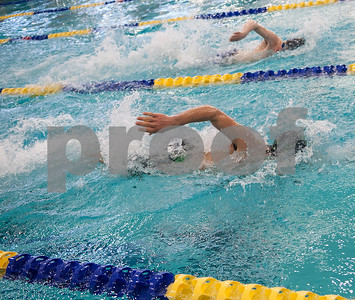 Bishop Thomas K. Gorman's Robert Ceccoli swims in the men's 200 yard freestyle relay during the TAPPS North Region Championships Friday Jan. 29, 2016 held at Mansfield ISD Natatorium.  (Sarah A. Miller/Tyler Morning Telegraph)