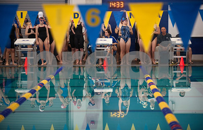 Sophomore Kelsey Conner of the Grace Community School women's 200 yard medley relay stretches before start of the TAPPS North Region Championships Friday Jan. 29, 2016 held at Mansfield ISD Natatorium.  (Sarah A. Miller/Tyler Morning Telegraph)
