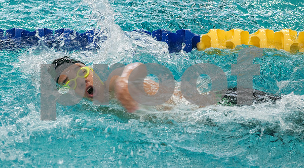 Bishop Thomas K. Gorman's Gilberto Fernandez swims in the men's 100 yard freestyle during the TAPPS North Region Championships Friday Jan. 29, 2016 held at Mansfield ISD Natatorium.  (Sarah A. Miller/Tyler Morning Telegraph)