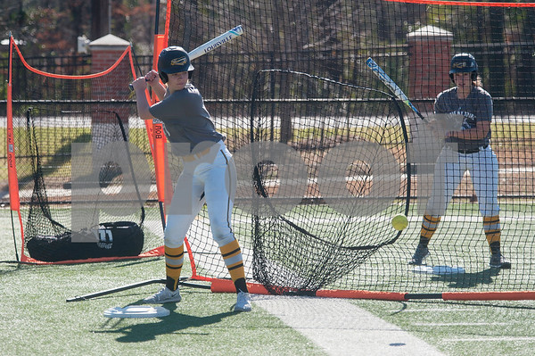 Tyler Junior College softball players Haley Orr and McKenzie Peet practice batting on Monday Jan. 29, 2018. The Apaches open their season Friday with a double header against Howard College.  (Sarah A. Miller/Tyler Morning Telegraph)