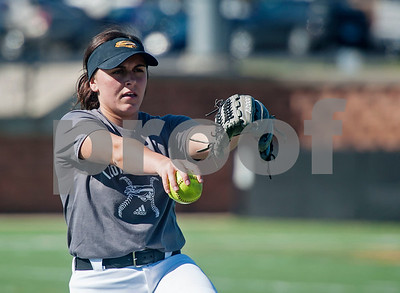 Tyler Junior College softball player Abbie Dart practices her pitch on Monday Jan. 29, 2018. The Apaches open their season Friday with a double header against Howard College.  (Sarah A. Miller/Tyler Morning Telegraph)