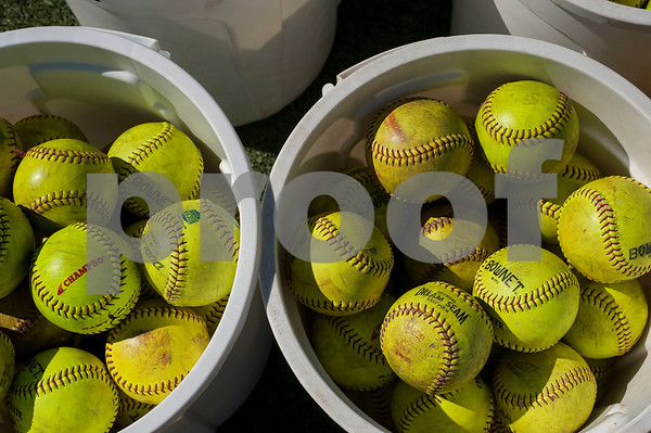 Buckets of softballs are set out for Tyler Junior College softball practice on Monday Jan. 29, 2018. The Apaches open their season Friday with a double header against Howard College.  (Sarah A. Miller/Tyler Morning Telegraph)