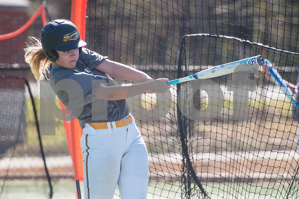 Tyler Junior College softball player Haley Orr practices batting on Monday Jan. 29, 2018. The Apaches open their season Friday with a double header against Howard College.  (Sarah A. Miller/Tyler Morning Telegraph)