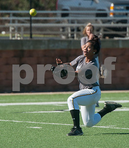 Tyler Junior College softball player Briana Paysinger goes for a catch during practice on Monday Jan. 29, 2018. The Apaches open their season Friday with a double header against Howard College.  (Sarah A. Miller/Tyler Morning Telegraph)