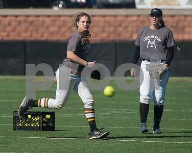 Tyler Junior College softball player Rebecca Snow goes for a catch during practice on Monday Jan. 29, 2018. The Apaches open their season Friday with a double header against Howard College.  (Sarah A. Miller/Tyler Morning Telegraph)